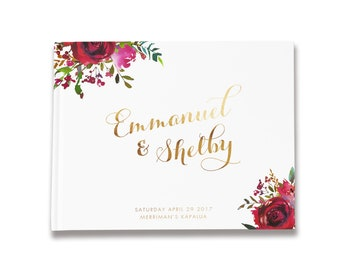 Rose Wedding Guest Book, Maroon Guest Book, Gold Foil Wedding Guestbook, GB 147