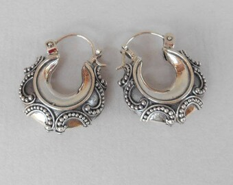 Beautiful granulation silver technique Silver sterling hoop Earrings, Ready to ship, earrings, silver earrings, Jewelry Gift, hoop earrings