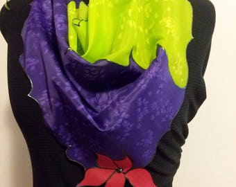 silk, hand-painted silk, scarf, unique edges, purple, chartreuse green