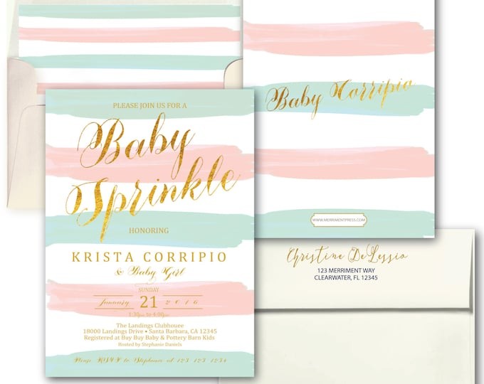 Blush Pink Blue Baby Sprinkle Invitation // Baby Sprinkle // Stripes // Sip and See // Watercolor // Boy or Girl // SANTA BARBARA COLLECTION