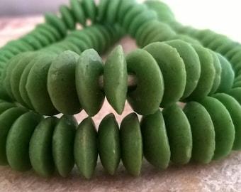 30 Green Ghana Powder Glass Spacer Beads,African Recycled Glass Spacer Beads,African Powder Glass Beads,30 African Beads, Ghana Krobo Beads