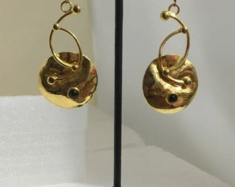 Gold plated brass lever back earrings with black onyx stones