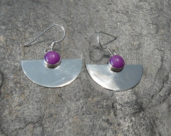 Sterling Silver and Purple Onyx Earrings
