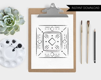 Abstract Art Instant Download Diamond Square Digital Art Print Southwest Illustration Printable Art Print