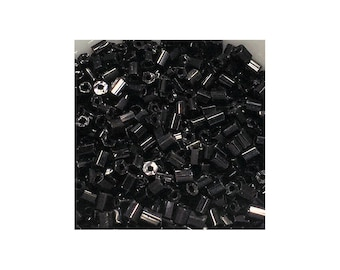Hex Black/Jet 2mm Bugle Beads 5gm