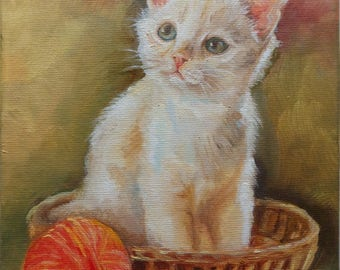 White Cat PORTRAIT Original Oil PAINTING on canvas Kitten Miniature Framed Art Hand painted Pussycat Traditional Pet portrait Animal Art