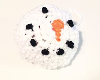 Snowman Yarn Ball bell Cat Toy- Organic Catnip toy - my cats love these - handmade - crocheted and hand sewn - Baseball Size - christmas -