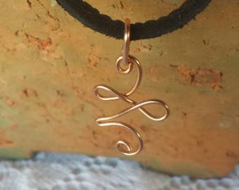 Change of Direction Copper Pendant on Black Leather Necklace
