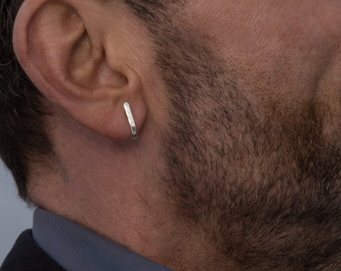 Hoop earrings, small J wrap bar studs, shiny
