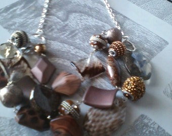 Mocha Latte Cluster Necklace