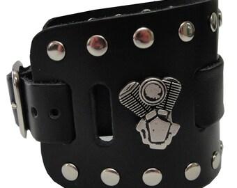 V-Twin Engine Concho Handmade Black Buckle Wide Genuine Leather Watchband Military Biker Rocker U.S.A. NYC Cuff Wristband Bracelet
