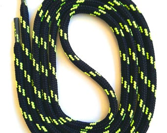 SNORS - lace - security LACES black/neon yellow, 4 lengths, approx. 5 mm - round laces for work shoes, hiking boots, trekking shoes