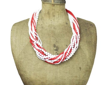 Long White Bead Necklace, Chunky White Necklace, Red and White Necklace, White and Red Bead Necklace, Red and White Multi Strand Necklace