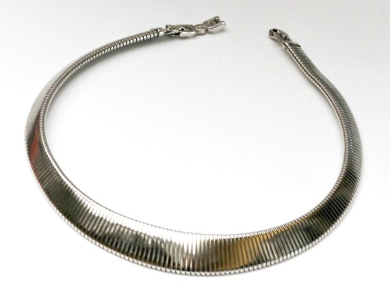 Monet Necklace - Silver Omega chain  -  Modernistic  - Choker collar Necklace