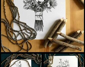 Flower Ink Drawing, Bouquet Art Print #5 - 8x10