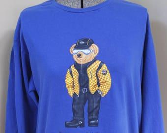 Polo Bear by Ralph Lauren Signature Bear Long Sleeve T Shirt Jeans Biker Boots M Cotton Royal Blue Polo Teddy Bear Watch Belt Sunglasses Hat