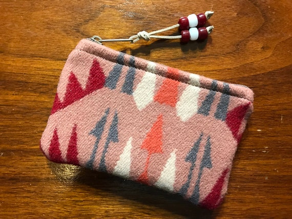 Wool Coin Purse / Phone Cord / Gift Card Holder / Zippered Pouch Salmon Pink