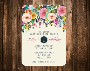 Secret Garden Birthday Invitation; Bright Floral; Printable or set of 10