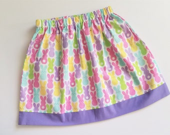 5t Easter Skirt with Bunnies Girls Skirt Bunny Skirt with Peeps toddler skirt Easter Clothes Spring Skirts Girls Skirts Ready to Ship