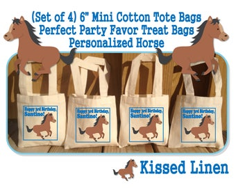 Personalized Horse Pony Horseback Riders Riding Birthday Party Treat Favor Gift Bags Mini Cotton Totes Kids Horses Ponies