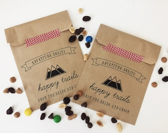 20 Bags // Happy Trails Craft Paper Bag // Adventure Awaits // Favor Bag // Wedding Favor Bag