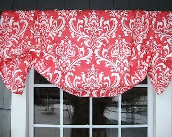 Valance Gathered Mock/Faux Roman Rod Pocket Window Treatment Premier Prints Ozborne Coral Fabric Traditions Damask Living Room Kitchen Bath