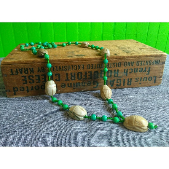 Vintage 1920s Green Faceted Glass Hand Carved Clay Scarab Necklace