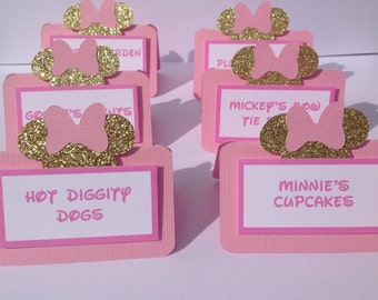 Minnie Mouse Inspired Food Labels Candy Buffet Labels Printed or Blank Set of 12