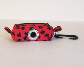 Waste Bag Dispenser, Leash Bag, Dog Poop Bag Holder, Red Paw Print, Dog Gift, Gift Under 15