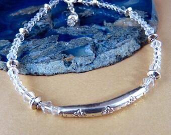 Crystal Anklet Silver Ankle Bracelet Crystal Jewelry Silver Jewelry Beaded Jewelry Beaded Anklet