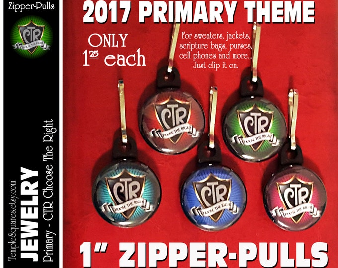 Zipper Pulls CTR Choose The Right LDS Gifts - 2017 Primary Theme - Birthdays, Baptism, Great to be Eight,Missionaries Gifts YW Scripture Bag