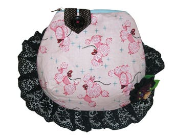Beautiful Pink Poodles Beaded Corsage Rare OOAK Frilly Goth Lolita Purse