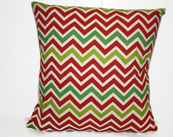 Red and Green Pillow Cover, 12x16, 16x16, and 18x18, Chevron Throw Pillow, Decorative Pillow Cover, Christmas Pillows