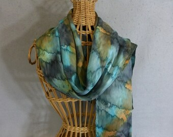 """Silk Scarf """"Blue-Green and Moss Green Blend """", Hand Painted Silk Jacquard Scarf"""