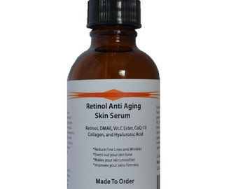 Retinol Anti Aging Skin Serum with Retinol, DMAE, Vitamin C Ester, CoQ-10, Collagen, and Hyaluronic Acid 2.3 oz