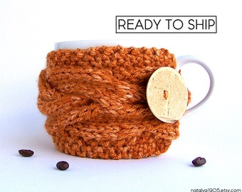 Coffee Cozy, Pumpkin Coffee Sleeve, Coffee Mug Cozy, Knit Coffee Cup Cozy, Knit Coffee Sleeve, Tea Cozy, Coffee Cup Sleeve, Coffee Decor