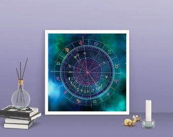 Astrology Natal/Birth Chart Custom Valentine's Day Gift Galaxy Wall Decor Meditation Mandala