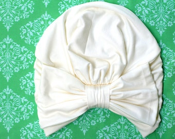 Turban with Bow - Ivory Hair Wrap in Jersey Knit - Women's Fashion Head Covering - Lots of Colors