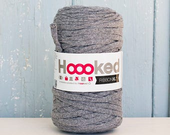 Hoooked Ribbon XL Yarn, Cotton Yarn XL, Recycled Cotton Yarn, Knitting, Crochet, Middle Grey Grey yarn