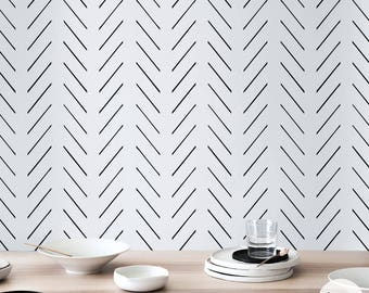Delicate herringbone wallpaper in black and white, Scandinavian design, removable self adhesive and traditional material