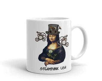 Steampunk Mona Lisa Mug, Coffee Mug, Funny Coffee Mug,
