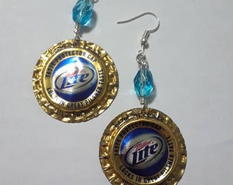 Eco Friendly Beer Bottle Cap  Earrings