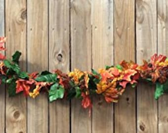 AG Designs Fall Decor - Lighted Harvest Leaf Berry Garland
