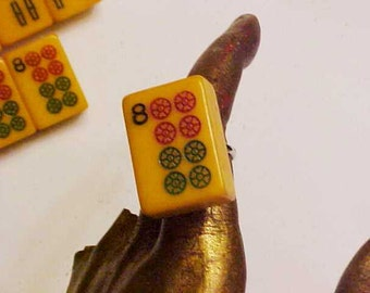 2 PC Lot Bakelite Mah Jong Tile Lucky Triple 8 Pin by Jan Carlin Snowman are Wild Pin and Ring Set