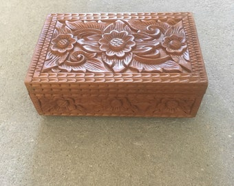 Handcarved wooden box