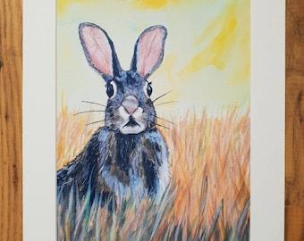 Startled Bunny A4 art print