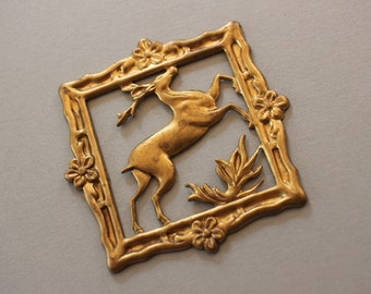 Oxidized Brass Woodland Deer Stamping