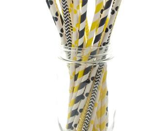 Bumblebee Black & Yellow Straws (25 Pack) - Bee Stripe, Chevron, Polka Dot Paper Party Drinking Straws
