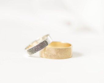 Fingerprint Ring - Couples Fingerprints Rings - Personalized Fingerprint Jewelry - Wedding Band - Men Band - Gift for Him