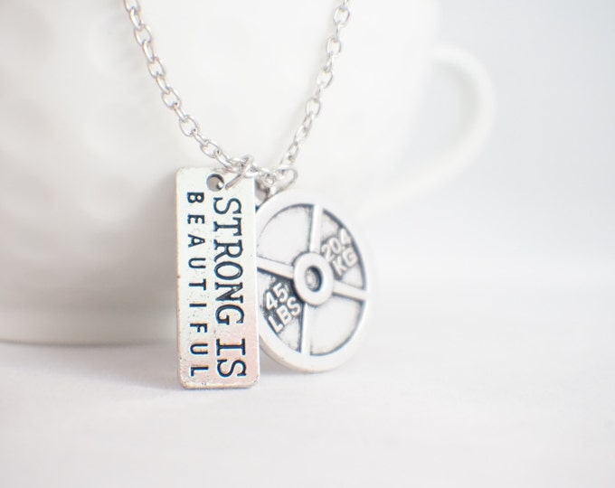 Fitness jewelry! Strong is beautiful necklace with 45lb weight plate!